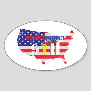 Never Forget 9-11 Sticker (Oval)
