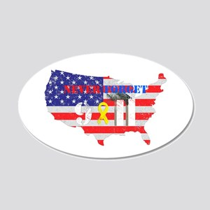Never Forget 9-11 20x12 Oval Wall Decal