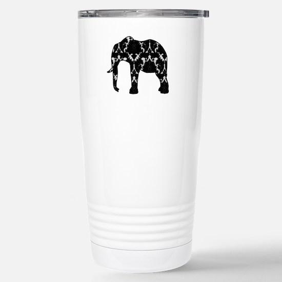Damask Elephant Pattern Stainless Steel Travel Mug