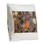 Glass Beads Burlap Throw Pillow