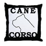 Cane Corso Logo Black Throw Pillow