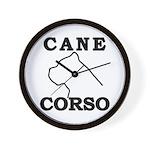 Cane Corso Logo Black Wall Clock