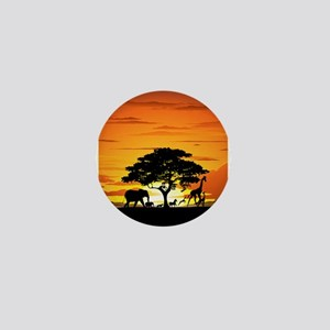 Wild Animals on African Savannah Sunset Mini Butto