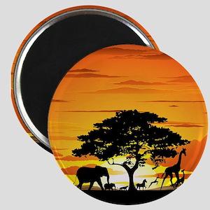 Wild Animals on African Savannah Sunset Magnet