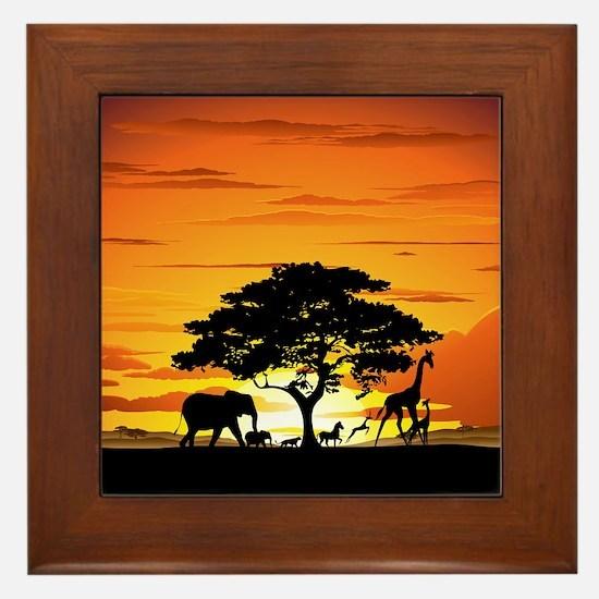 Wild Animals on African Savannah Sunset Framed Til