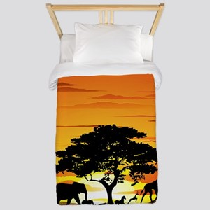 Wild Animals on African Savannah Sunset Twin Duvet