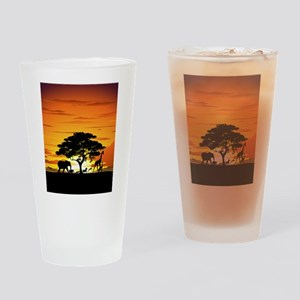 Wild Animals on African Savannah Sunset Drinking G