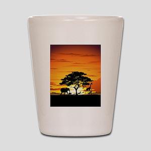 Wild Animals on African Savannah Sunset Shot Glass