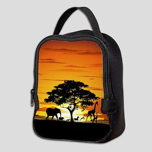 Wild Animals on African Savannah Sunset Neoprene L