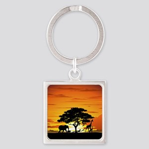 Wild Animals on African Savannah Sunset Keychains