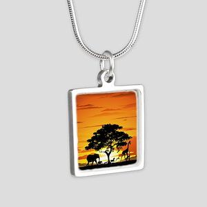 Wild Animals on African Savannah Sunset Necklaces