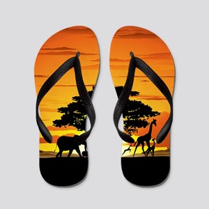 5067ec9b52221f Wild Animals on African Savannah Sunset Flip Flops