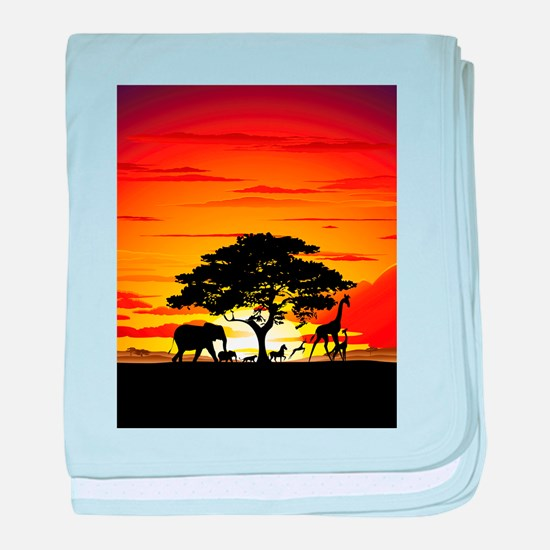 Wild Animals on African Savannah Sunset baby blank