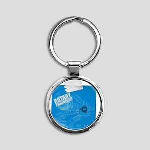 Rotary Blue Print Round Keychain