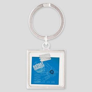 Rotary Blue Print Square Keychain