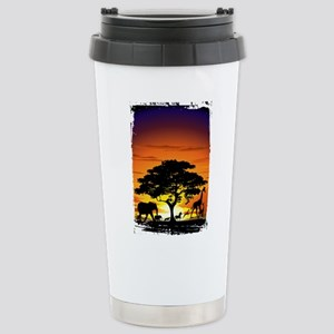 Wild Animals on African Savannah Sunset Travel Mug