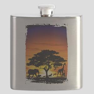 Wild Animals on African Savannah Sunset Flask