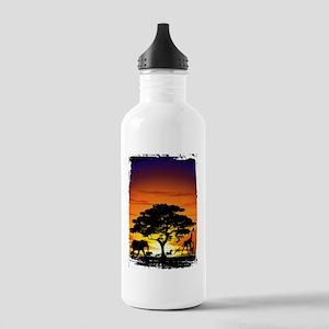 Wild Animals on African Savannah Sunset Water Bott