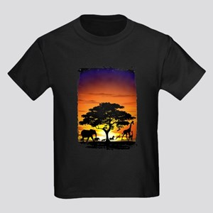 Wild Animals on African Savannah Sunset T-Shirt