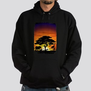 Wild Animals on African Savannah Sunset Hoodie