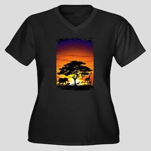 Wild Animals on African Savannah Sunset Plus Size