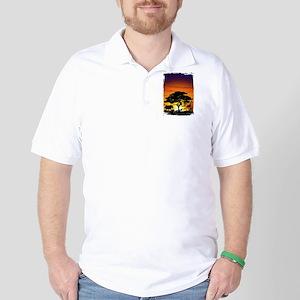 Wild Animals on African Savannah Sunset Golf Shirt