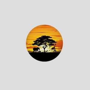 Wild Animals on African Savannah Sunset Mini Butto