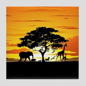 Wild Animals on African Savannah Sunset Tile Coast