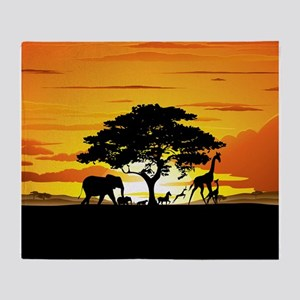 Wild Animals on African Savannah Sunset Throw Blan