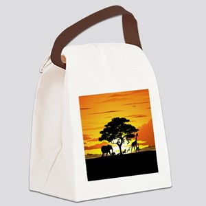 Wild Animals on African Savannah Sunset Canvas Lun