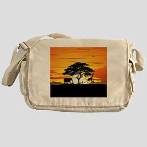 Wild Animals on African Savannah Sunset Messenger