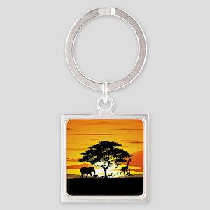 Wild Animals on African Savannah Sunset Keychains