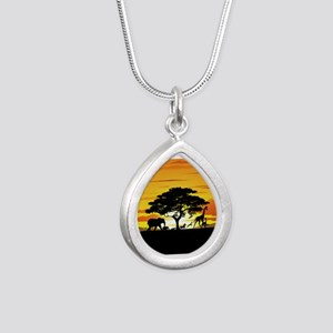 Wild Animals on African Savannah Sunset Necklaces