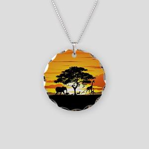 Wild Animals on African Savannah Sunset Necklace