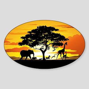 Wild Animals on African Savannah Sunset Sticker