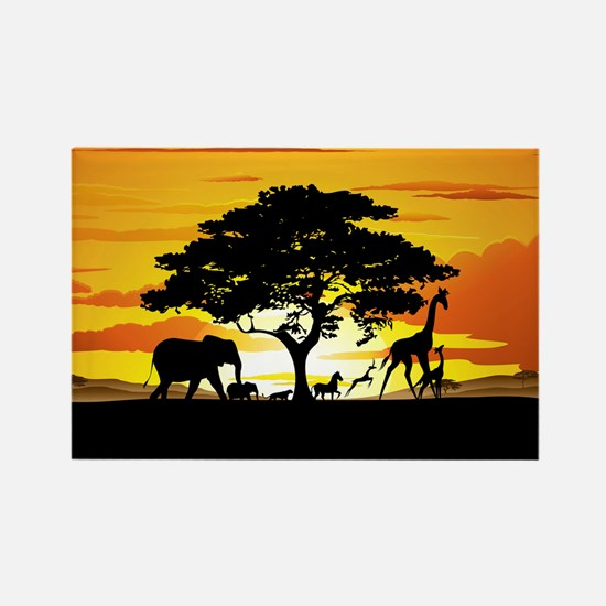Wild Animals on African Savannah Sunset Rectangle