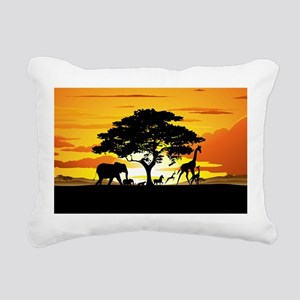 Wild Animals on African Savannah Sunset Rectangula