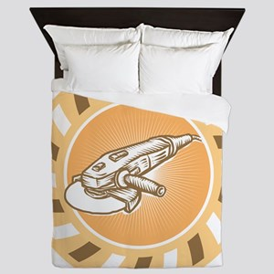 Angle Grinder Power Tool Woodcut Retro Queen Duvet