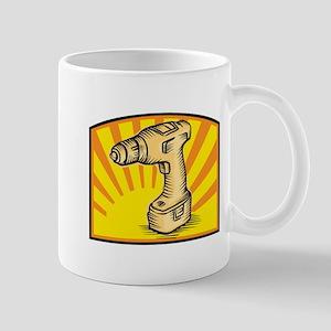 Cordless Drill Power Tool Woodcut Retro Mug