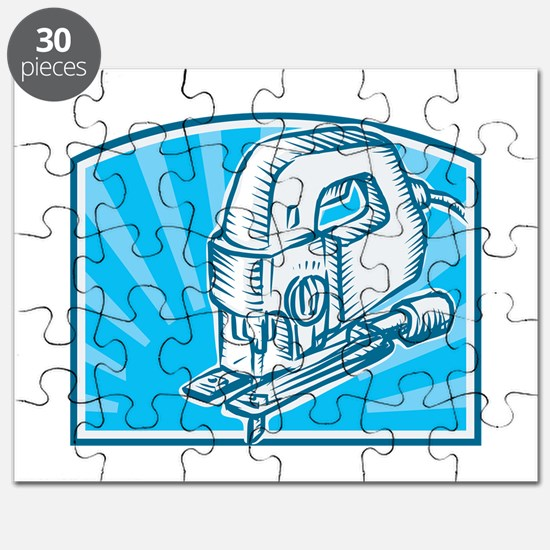 Jigsaw Power Tool Woodcut Retro Puzzle
