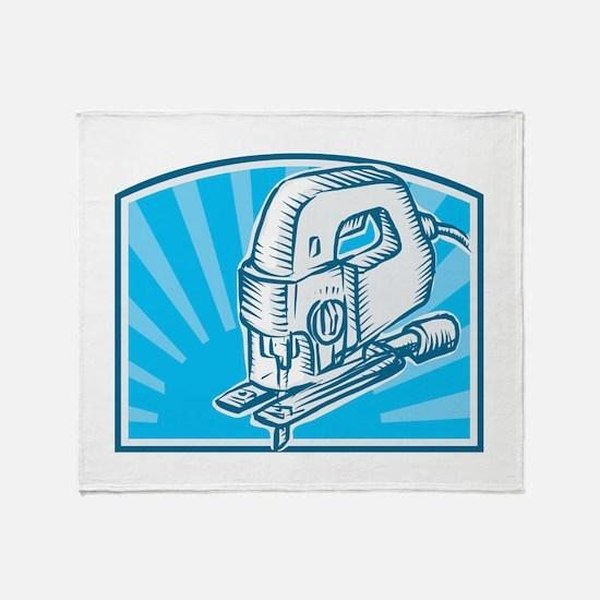 Jigsaw Power Tool Woodcut Retro Throw Blanket