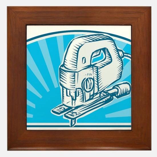 Jigsaw Power Tool Woodcut Retro Framed Tile