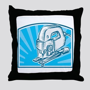 Jigsaw Power Tool Woodcut Retro Throw Pillow
