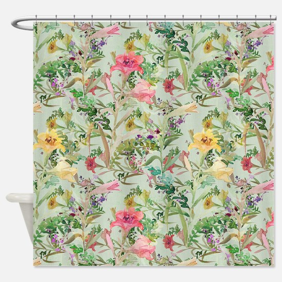 Colorful Floral Pattern Shower Curtain