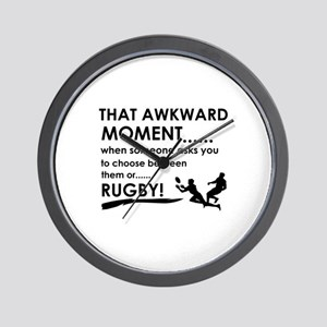 Awkward moment rugby designs Wall Clock