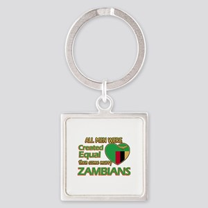 Zambian wife designs Square Keychain