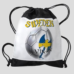 Sweden Football Drawstring Bag