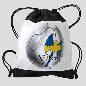 Sweden Soccer Ball Drawstring Bag