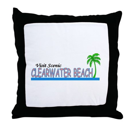 Visit Scenic Clearwater Beach Throw Pillow