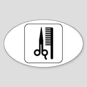 Hair Salon Oval Sticker